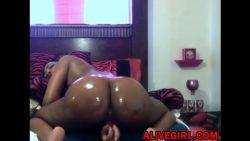 Ebony booty babe Carmel masturbates and gets squirt