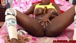 Busty ebony AnnaBombom masturbates sweet pink pussy
