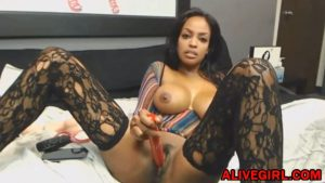 Stunning ebony Ravenxxx_ with huge boobs masturbates and squirts