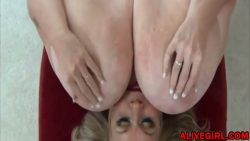 Naughty BBW MILF SuzieQhasbigboobs plays with unreal massive boobs