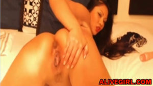 Spoiled asian girl Ritsacoco drinks vodka and fucks a juicy ass