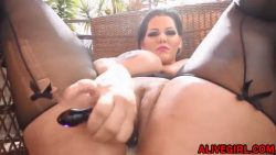 Magnificent chubby Angelina with enormous tits fucks juicy ass and squirting