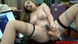 big tits masturbating girl - Busty babe NaturalNPerkyXXX with hairy bush in sexy outfit rides on dildo on the table
