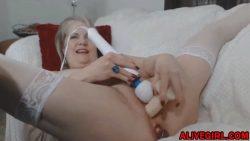 Classy blonde mom Catherine enjoying double penetration