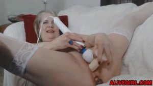 Classy blonde mom Catherine enjoying double penetration