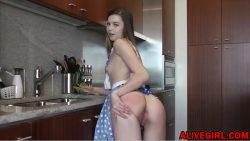 hot teen girl masturbates on the kitchen
