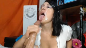 Oversexual raven MILF with a hairy bush loves facial with a lot of cum