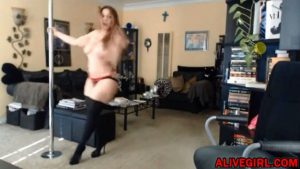 Awesome big booty MILF Brigittparis dancing on the pole & fucks