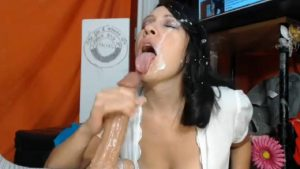Oversexual raven MILF with a hairy bush loves facial with a lot of cums