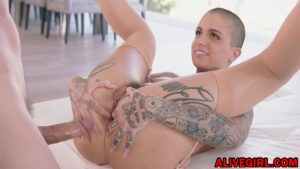 Offbeat beautiful bald n tattooed DylanFox loves anal BJ n facial